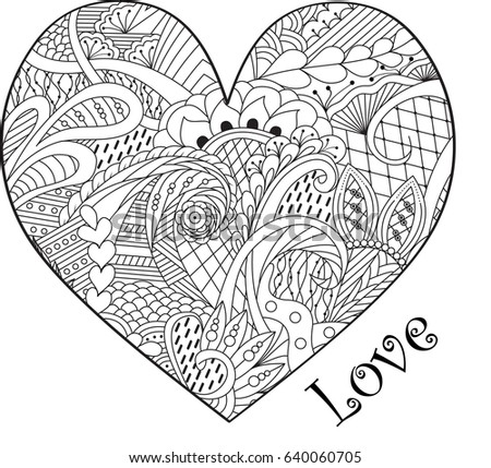 Zen Tangle Adult Coloring Page Art Style Hand Drawn Vector Illustration Romantic