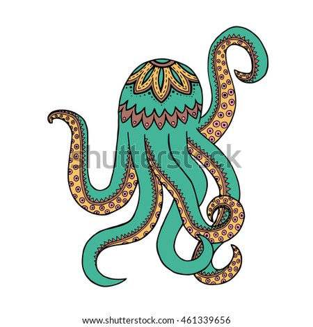 Zen tangle and doodle octopus. Zentangle and zendoodle tentacle. Coloring book marine animal. Vector poulpe.  Tattoo submersed. Zenart subaqueous. Subsurface abstract draw. Undersea world.