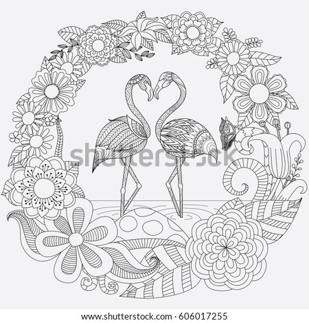 Zendoodle Design Of Two Cute Flamingos In Love Springtime For Adult Coloring Book Page And