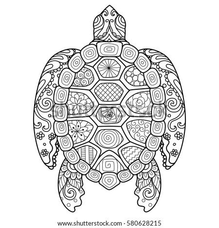 Zendoodle Stylized Turtle Tshirt Design Tattoo Stock
