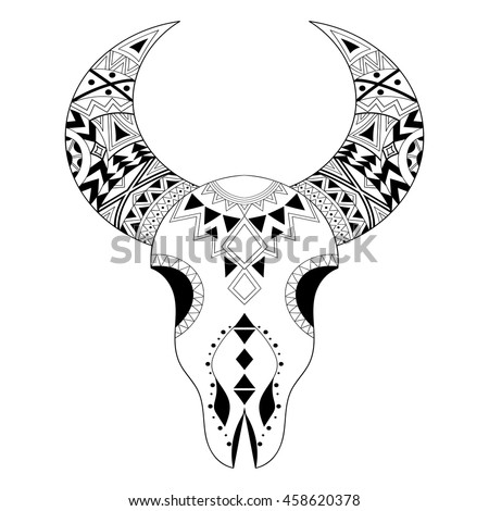Zentangle Animal Skull Freehand Boho Tribal Sketch For Adult Anti Stress Coloring Page With