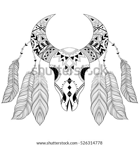 Zentangle Boho Animal Skull Bird Feathers Stock Vector 526314778