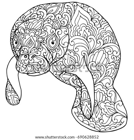 zentangle doodle patterned fantasy manatee sea cow isolated design black on white background detailed