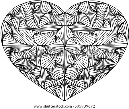 Zentangle hand drawn decorative heart with paradox tangle, black and white. Zen tangle style art.