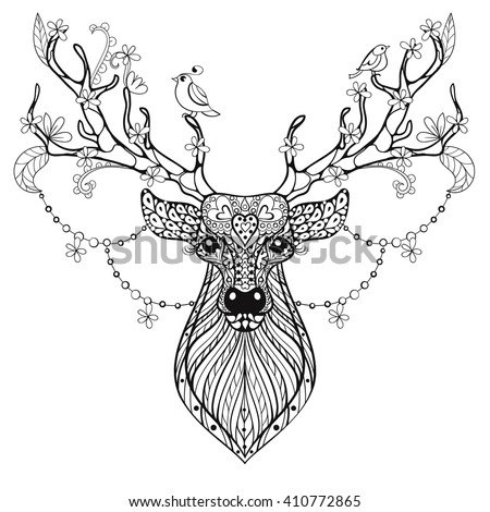 Zentangle Hand Drawn Magic Horned Deer For Adult Antistress Coloring Pages Post Card T