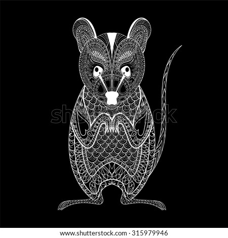 Zentangle Possum totem for adult anti stress Coloring Page for art therapy, illustration in doodle style. Vector monochrome sketch with high details isolated on black background - stock vector