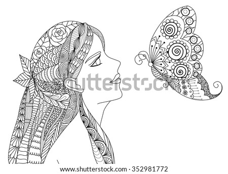Zentangle pretty girl looking at flying butterfly design for coloring book for adult - stock vector