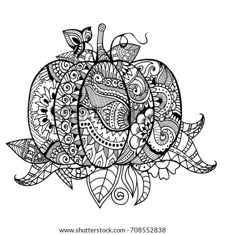 Zentangle pumpkin abstract leaves adult colouring stock for Pumpkin coloring pages for adults