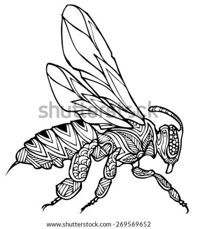 zentangle style bee vector - stock vector