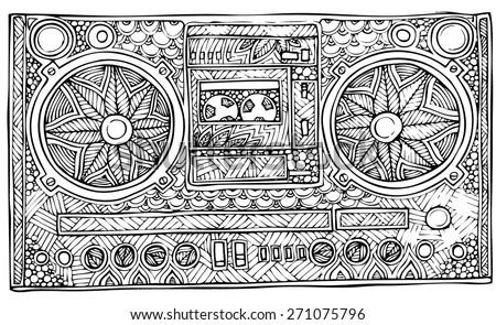 zentangle style ghetto blaster vector illustrtion - stock vector