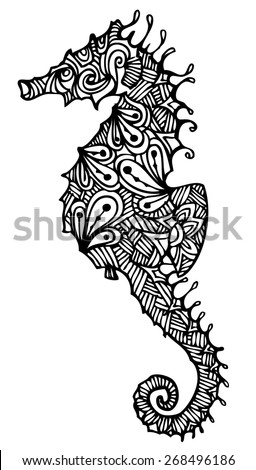 Zentangle style seahorse vector - stock vector