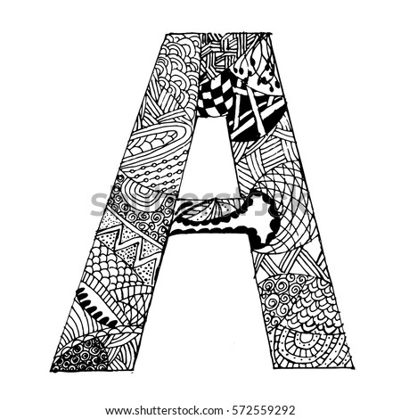 Zentangle Stylized Alphabet Letter A Vector Stock Royalty