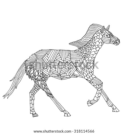 Zentangle stylized Black Horse. Hand Drawn doodle vector illustration. - stock vector