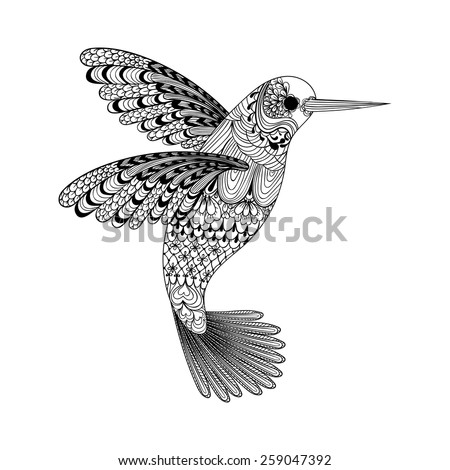 Zentangle stylized black Hummingbird. Hand Drawn vector illustration isolated on white background. Sketch for tattoo or makhenda. Bird collection. - stock vector