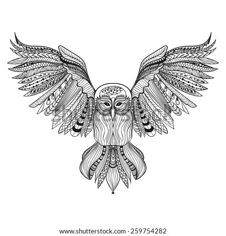 Zentangle stylized black Owl. Hand Drawn vector illustration isolated on white background. Sketch for tattoo or makhenda. Bird collection. - stock vector