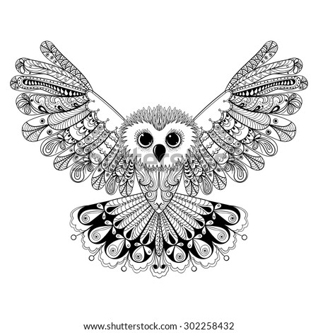 Zentangle stylized Black Owl. Hand Drawn vector illustration isolated on white background. Vintage sketch for tattoo design or makhenda. Bird collection. - stock vector