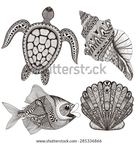 Zentangle stylized black sea shells, fish and turtle. Hand Drawn  doodle vector illustration. Sketch for tattoo or makhenda. Seal collection. Ocean life set. - stock vector