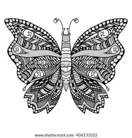 Zentangle stylized butterfly. Black white hand drawn doodle animal. Ethnic patterned vector illustration. African, indian, totem tribal design. Sketch for coloring page