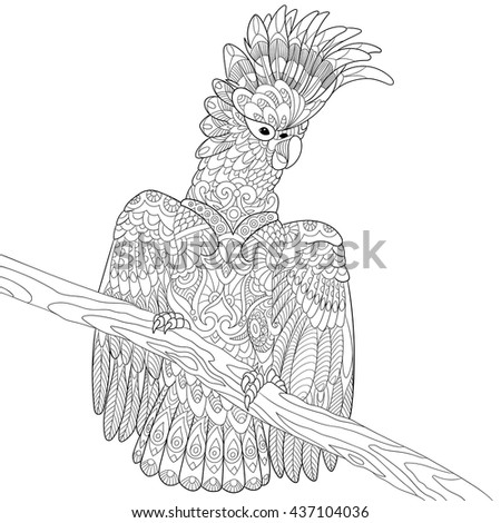 Zentangle stylized cartoon cockatoo parrot and wooden tree branch. Hand drawn sketch for adult antistress coloring page, T-shirt emblem, logo, tattoo with doodle, zentangle, floral design elements. - stock vector