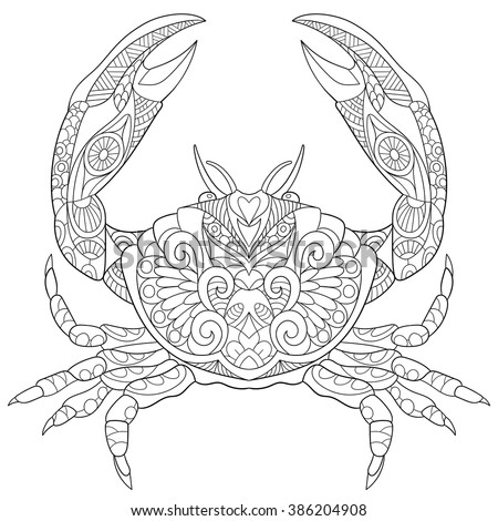 Zentangle Stylized Cartoon Crab Isolated On Stock Vector