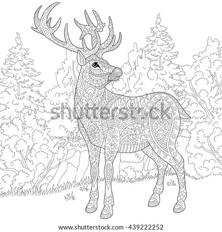 Zentangle stylized cartoon deer (stag, christmas reindeer). Hand drawn sketch for adult antistress coloring book page, T-shirt emblem, logo or tattoo with doodle, zentangle and floral design elements. - stock vector