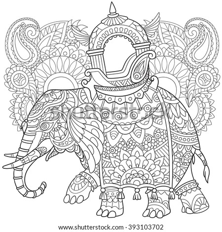 Zentangle stylized cartoon elephant with paisley and mehndi symbols. Sketch for adult antistress coloring page. Hand drawn doodle, zentangle, floral design elements for coloring book. - stock vector