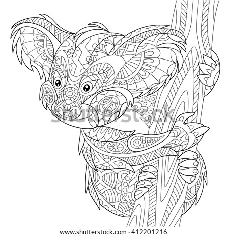 Zentangle stylized cartoon koala bear, isolated on white background. Hand drawn sketch for adult antistress coloring page, T-shirt emblem, logo or tattoo with doodle, zentangle, floral design elements - stock vector