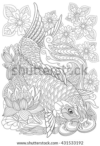 Zentangle stylized cartoon koi carp, isolated on white background. Hand drawn sketch for adult antistress coloring page, T-shirt emblem, logo or tattoo with doodle, zentangle, floral design elements. - stock vector