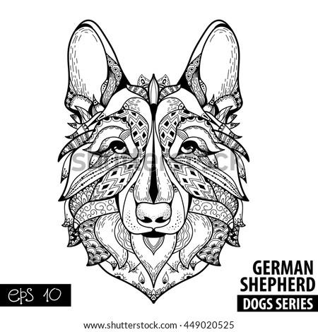 Zentangle Stylized Cartoon GERMAN SHEPHERD Hand Stock Vector ...