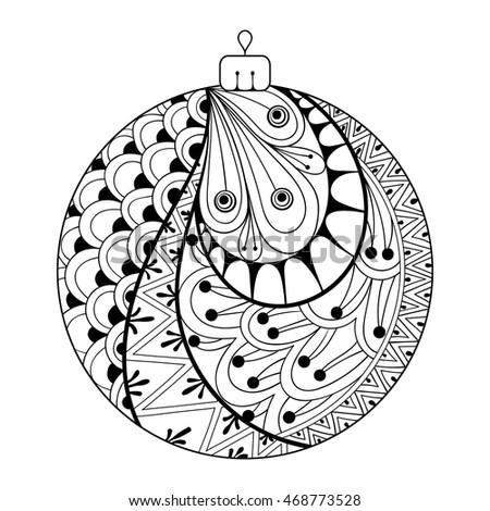 Zentangle Stylized Christmas Ball Freehand Artistic Stock