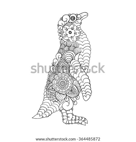 Zentangle stylized cute penguin. Adult coloring page. Black white hand drawn doodle animal. Ethnic patterned vector. African, indian, totem tribal design. Sketch for tattoo, poster, print, t-shirt - stock vector