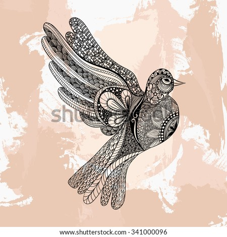 Zentangle Stylized Floral Pigeon Peace Day Stock Illustration