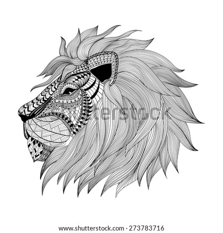 Zentangle stylized Lion face. Hand Drawn doodle vector illustration. Sketch for tattoo or makhenda. Animal collection. - stock vector