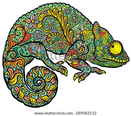 Zentangle stylized multi coloured Chameleon. Hand Drawn Reptile vector illustration in doodle style for tattoo or print