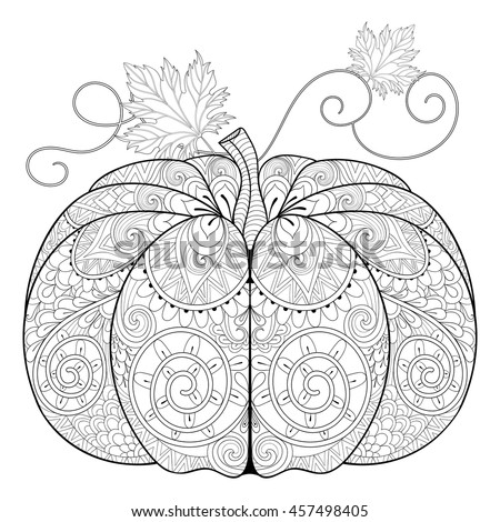 Zentangle Stylized Pumpkin For Thanksgiving Day Halloween Freehand Sketch Adult Anti Stress Coloring