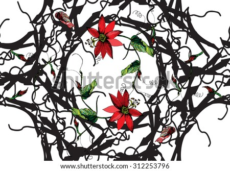 Zentangle stylized Red passion flower, bud, tendril & Gothic frame seamless pattern on white background. Cloth & rug design. Red, Black, Green, White vector backdrop. Hand drawn engraved illustration. - stock vector