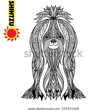 zentangle stylized shihtzu hand drawn dog doodle vector illustration sketch for tattoo or makhenda - Shih Tzu Coloring Pages
