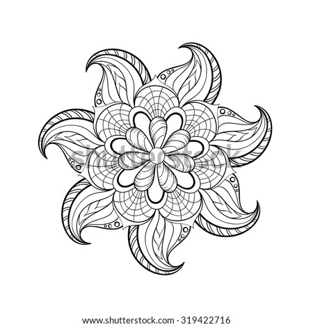 Zentangle stylized tribal Arabic, Indian Mandala for adult coloring page. Hand drawn vintage Ornament Pattern for art therapy. Ethnic decorative element, zendala. Yoga spirit. - stock vector