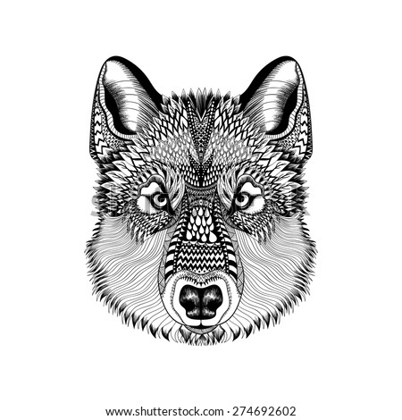 Zentangle stylized Wolf face. Hand Drawn Guata doodle vector illustration. High detailed Sketch for tattoo or makhenda. Animal collection. T-shirt print. - stock vector