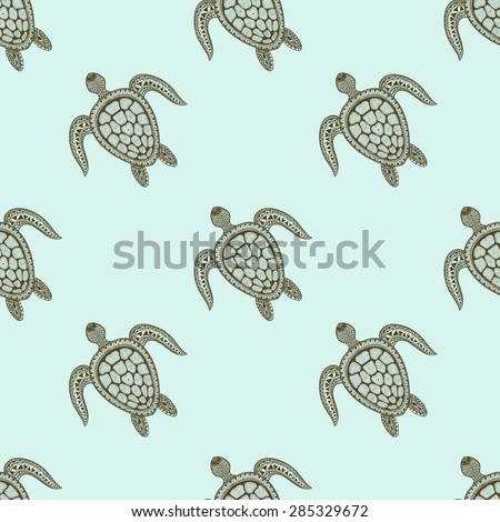 Zentangle tribal stylized turtle seamless pattern. Hand Drawn aquatic doodle vector illustration. Sketch for tattoo or makhenda. Animal sea collection. - stock vector