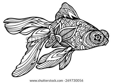 zentangle vector goldfish - stock vector