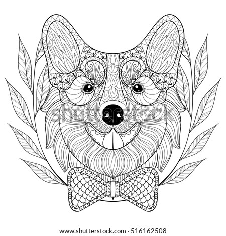 Zentangle Welsh Corgi With Bow Tie In Wreath Doodle Style Hand Drawn Puppy