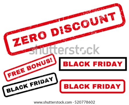 Zero Discount rubber seal stamp watermark with additional images for Black Friday offers. Tag inside rectangular banner with grunge design and scratched texture. Vector red and black signs.