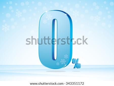 zero percent on snow background - stock vector