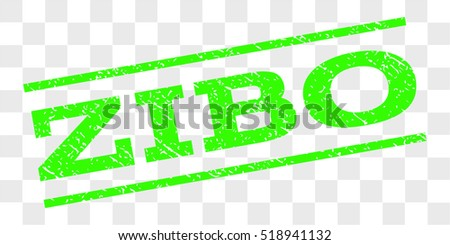 Zibo watermark stamp. Text caption between parallel lines with grunge design style. Rubber seal stamp with dust texture. Vector light green color ink imprint on a chess transparent background.