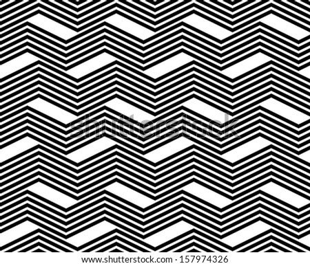 Zig zag black and white geometric seamless pattern, vector background. - stock vector