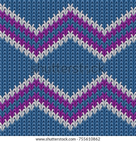 Zigzag Knitted Background Ugly Sweater Pattern Stock Vector