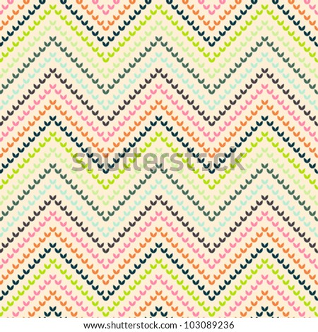 Zigzag pattern in warm color - stock vector