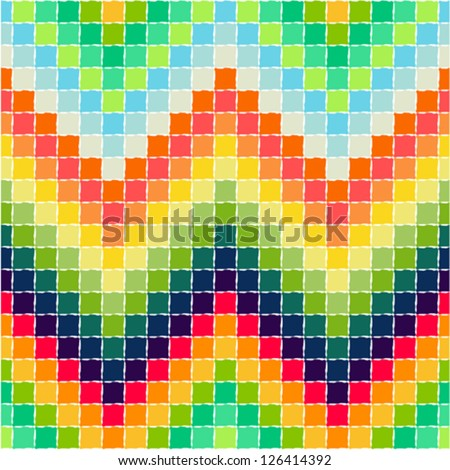 Zigzag pattern - painting oil - stock vector
