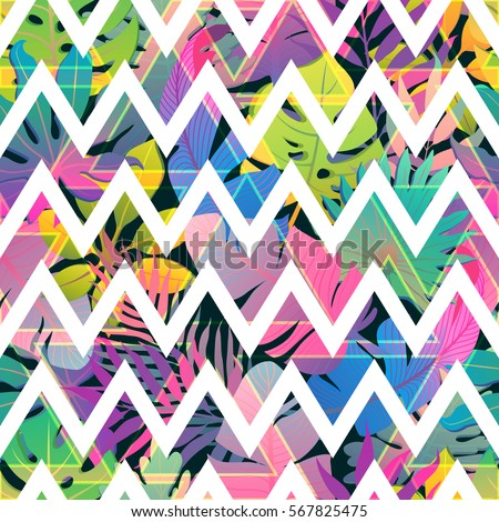 Zigzag Strips On Colorful Tropic Seamless Vector Pattern Abstract Trendy Background Print For Fabric